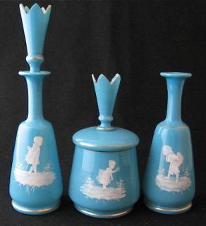 Blue Opaque Mary Gregory Art Glass Dresser Set 3 P