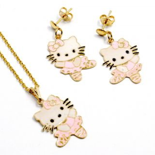 Set Gold 18K GF Pink Enamel Earrings Ballerina Hello Kitty Girl
