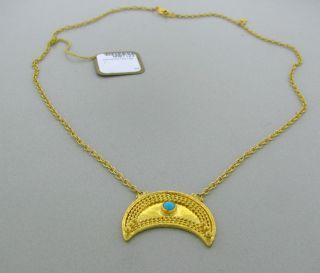 New Gurhan 24K Gold Crescent Turquoise Pendant Necklace $3800