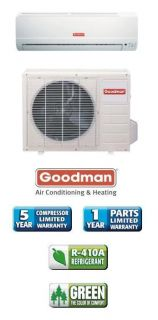 000 Btu 13 Seer Goodman Single Zone Mini Split Air Conditioner System