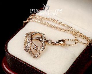 18CT Rose Gold GP Sparkling Crown Pendant Necklace W/ Clear SWAROVSKI