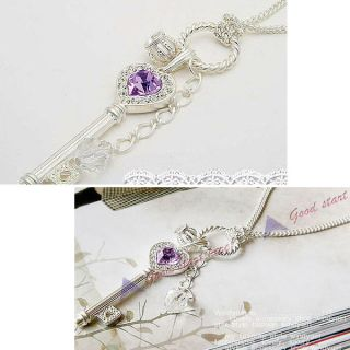 Jewelry Violet Crystal Love Key Crown Necklace Gold Silver Chain