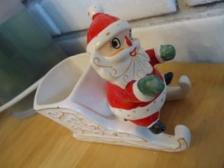 Holt Howard Santa on Sleigh Has Sticker Vintage Japan Gold Trim