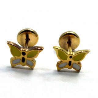 Gold 18K GF Little Earrings Yellow Butterfly Earrings Infants Baby