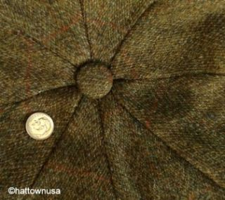 New Tweed Green Herringbone Irish Ivy Eight Quarter Cap Golf Newsboy 8