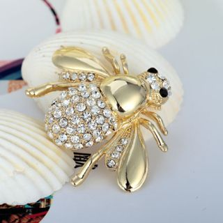 Fashion 14k Gold Plated Alloy Pin Rhinestones Bee Brooch