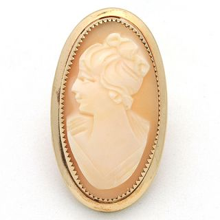 Vintage Gold Filled Carved Shell Cameo Pin Brooch