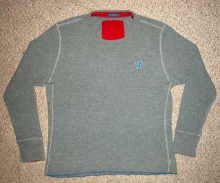 American Eagle Grey Gray Blue Emblem Sweater Mens Vintage Fit Large