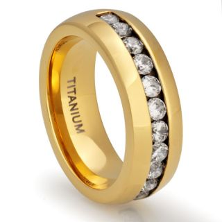 Titanium 18K Gold Plated Ring Wedding Band Simulated Diamond Jewelry