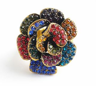 35mm Flower Crystal Rhinestone Vintage Silver Gold Stretch Ring