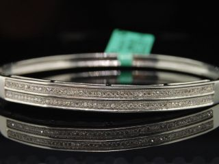 Ladies White Gold Finish Diamond Pave Bangle Bracelet