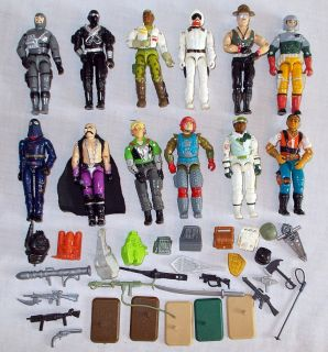 Lot of 11 Vintage Gi Joe 1980s Action Figures and Accessories