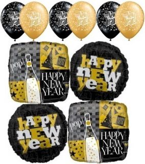 10 PC Golden Celebration New Years Balloon Bouquet Decoration Party