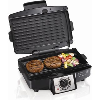 Easy Clean Electric Indoor Grill, Hamilton Beach Cooker Press w