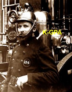 Victorian Photo London Fireman Steam Fire Engine 2157
