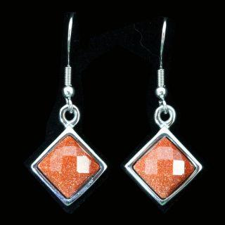 Rhombus Shape Goldstone Stainless Steel Dangle Earrings
