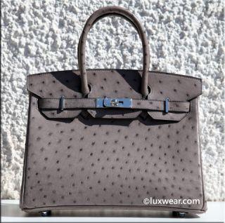 Gris Tourterelle Ostrich Palladium 30cm Hermes Birkin Bag