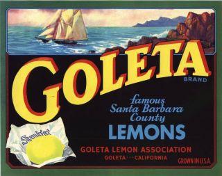 Lemon Crate Label Santa Barbara Goleta Vintage Sailboat