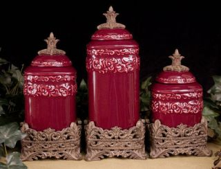 Tuscan Old World Drake Design Medium Berry Kitchen Canisters Set of 3