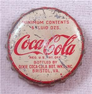Vintage Bottle Cap Dixie Coca Cola Bottling Works Bristol VA