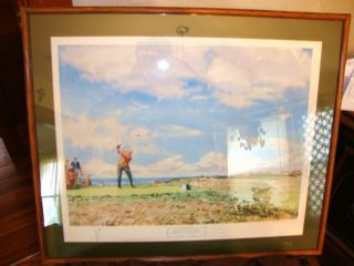 Jack Nicklaus 9th Hole of the 1967 British golf open print sign by