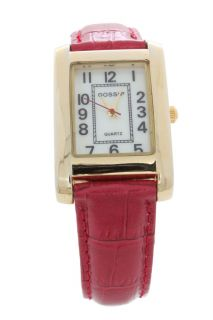 Gossip Goldtone Rectangle Case Primary Color Red Strap Fashion Watch