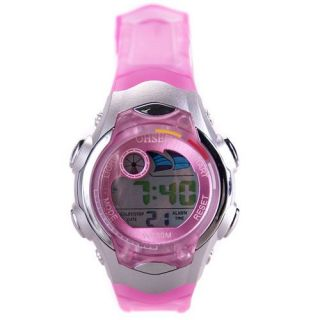 Lovely Pink Band Water Digital Outdoor Sport Quartz Wrist Watch
