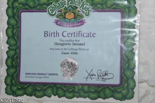 Cabbage patch kids bald boy doll millennium cpk jan 1st for Cabbage patch birth certificate template