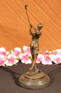 Bronze Statue Vintage Golfer Golf Female Golfing Trophy Sculpture
