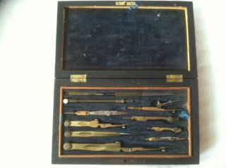 VINTAGE BRASS COLORED MECHANICAL DRAFTING SET IN WOOD BOX WITH BLUE