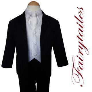 Gino Baby Boy Black w White Vest Suit Tuxedo 3 6 S