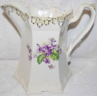 Antique Victorian Large Pitcher with Violets