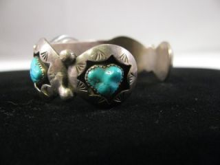 Navajo Teddy Goodluck Sterling Silver Turquoise Shadowbox Watch Cuff