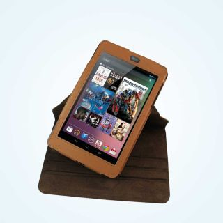 Asus Google Nexus 7 Leather Rotating Case Cover Stand Sleeve Brown