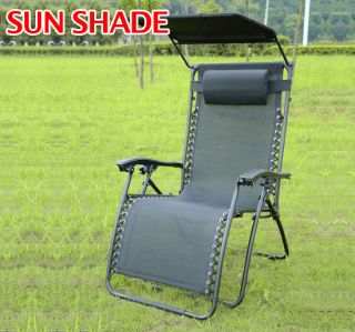 Recliner Zero Gravity Lounge Patio Pool Chair with Canopy Sun Shade