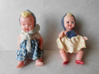 Antique Plastic Dolls Italy Jointed Moveable Eyes Rooster Mark