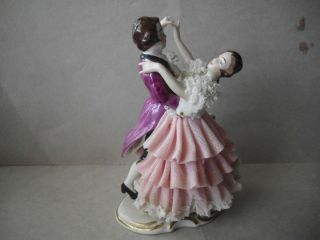 Vintage DRESDEN Lace Porcelain Dancing Couple Figurine, Germany, Man