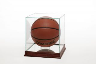 Glass Basketball Display Case Cherry Trim