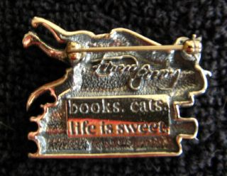 Gorey Silver Book Cat Brooch/PiN with gift pouch   books. cats. life
