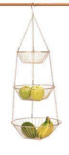 RSVP Copper 3 Tier Hanging Wire Metal Basket Fruit Vegetable Kitchen