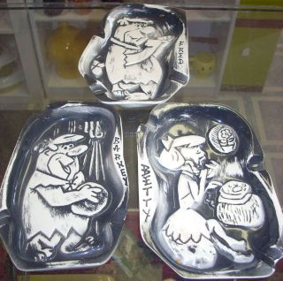 Amazing vintage Hanna Barbera Flintstones ashtrays Fred Barney Betty
