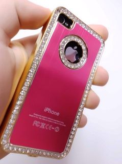 Hot Pink Delux Rhinestone Glittery Diamond Case Apple Verizon at T