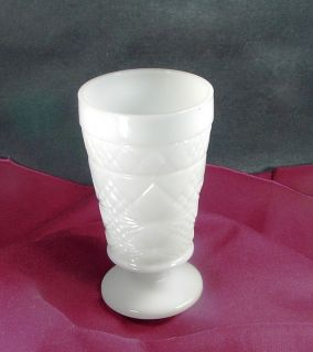 Vintage Milk Glass Footed Goblet with Diamond Pattern 5 inches Tall
