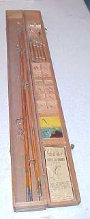 Antique Glenham bamboo fly fishing rod,wood case & fly assortment