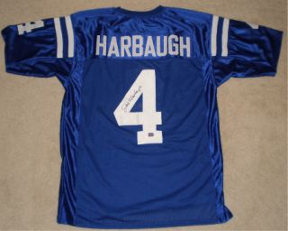 JIM HARBAUGH AUTOGRAPHED SIGNED INDIANAPOLIS COLTS 4 JERSEY COA
