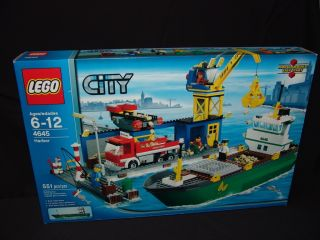 New LEGO CITY Harbor Cargo Ship 4645 Crane Truck Fisherman Boat Tower