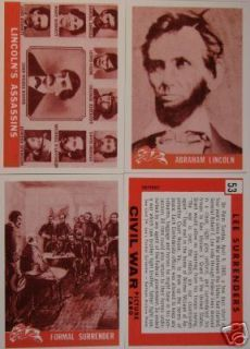 1965 Civil War Cards Reprint Set Abe Lincoln Grant Lee