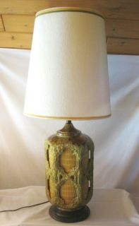 Large Retro Cutaway Ceramic Lava Drip Glaze Table Lamp Fabric Covered