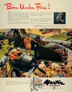 1942 Ad Glenn L. Martin B26 Military Aircraft WWII War Production