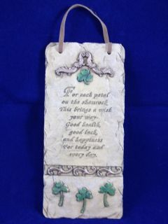 Irish Prayer Poem Slate Wall Plaque Tile Each Petal on A Shamrock